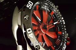 25849 Invicta Homme Turbine Automatique 52mm Rouge Cadran Noir Bracelet Montre
