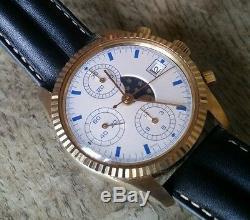 Ancien chronographe automatique suisse, phases de lune valjoux 7754 années 1970
