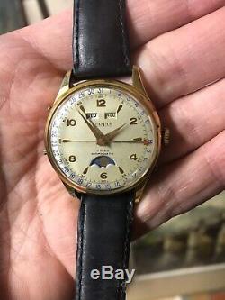Belle montre suisse ancienne automatique Homme Damas Phase Lunaire