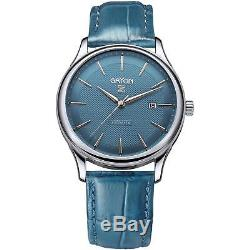 Gryon Homme 42mm Bracelet Cuir Bleu Automatique Analogique Montre G 253.18.38