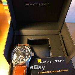 HAMILTON Homme 42 mm Khaki Field Bracelet Cuir Marron AUTOMATIQUE