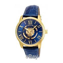 Invicta Objet D Art Homme 42mm Bracelet Cuir Bleu Automatique Montre 22601