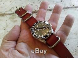 MONTRE HOMME AUTOMATIQUE PARNIS GMT neuve avec 2 Nato Bracelets Rolex look