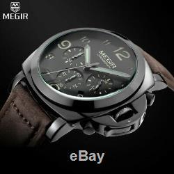 Montre Automatique Homme Chronographe Militaire Luxe Bracelet Cuir