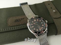 Montre Bliger James Bond 007 automatique NH35 bracelet mailles Seamaster Diver