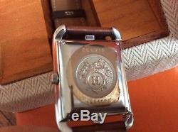 Montre Hermès Cape Cod automatique acier GM bracelet cuir double tour avec boîte