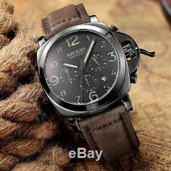 Montre Homme Automatique Luxe Chronographe Militaire Quartz Bracelet Cuir