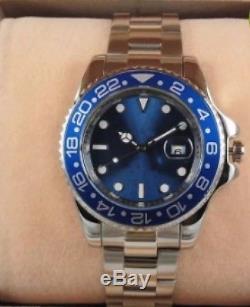 Montre Homme Automatique Style GMT MASTER II Lunette noire et Bleue