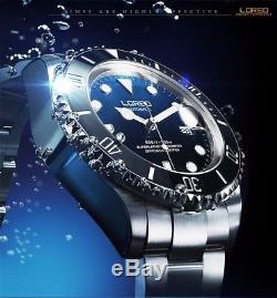 Montre Homme Automatique Submarine Loreo Bleu Saphir Étanche Neuf Promo