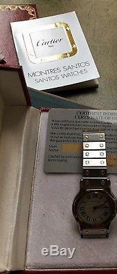 Montre Homme Cartier Santos Octogone Automatique Acier/Or 18c Dateur, box papier
