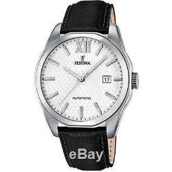 Montre Homme Festina F16885/2 Automatique Bracelet Cuir Noir NEUF