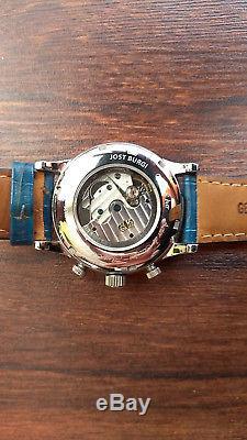 Montre Homme JOST BURGI Mécanique Automatique Squelette bracelet cuir