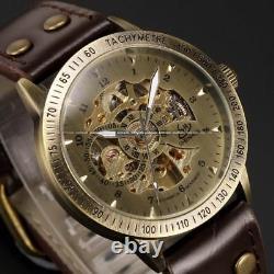 Montre Squelette Mécanique Automatique Bronze Rétro Homme Bracelet Cuir