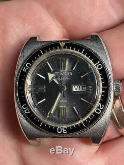 Montre Vintage Duward Aquastar 200m Diver Acier Homme Automatique Jour Date
