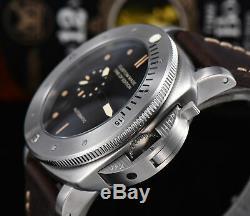 Montre automatique parnis montre pam montre 47mm militaire argent cas de pvd