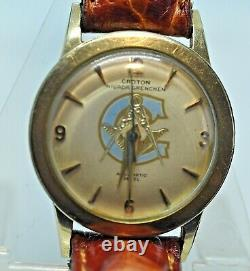 Montre maçonnique homme vintage automatique or 10 K Croton Nivada Grenchen 485