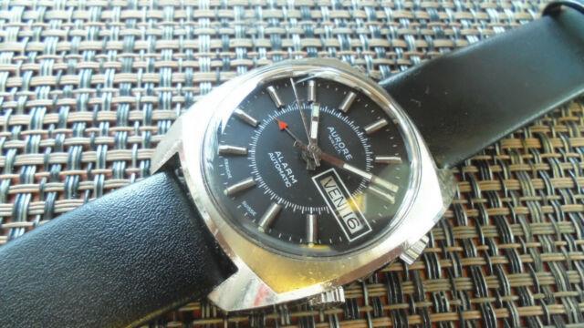 Montre Suisse Alarme Automatique Aurore Watch Acier As 5008 Révisée Superbe