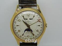 Montre triple date phase de lune automatique DIFOR mouvement AS1402N vers 1960