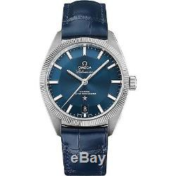 OMEGA Homme 39mm Bracelet Cuir Bleu Automatique Montre 130.33.39.21.03.001