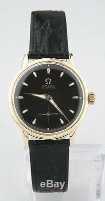 Omega Vintage Hommes 14k or Jaune Automatique Watch W / Bracelet en Cuir Noir