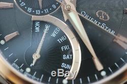Orient Star Retrograde Montre Automatique pour Hommes Jour Date Réserve Cuir