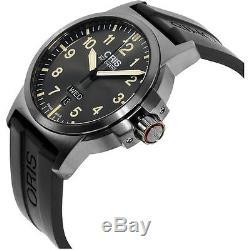Oris Homme 42mm Bracelet Silicone Noir Automatique Montre 73576414263rs