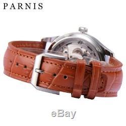 Parnis 43mm Automatique Montre Hommes Cuir Marron Miroire Anti-rayure Cristal 31