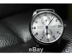 Parnis Montre Homme Mécanique Automatique Bracelet Cuir Sport Militaire Luxe