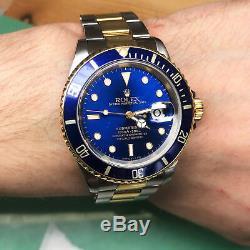 Rolex Submariner Bleu sur Bleu Acier 18k or Jaune Montre Automatique pour Homme