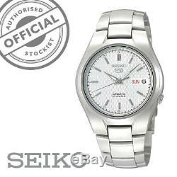 Seiko 5 Automatique Argent/Blanc Cadran Montre Homme Acier Inoxydable