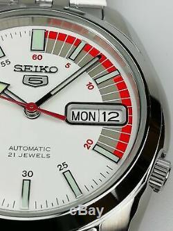 Seiko 5 Automatique Cadran Blanc Argent Montre Homme Acier Inoxydable SNK369K1