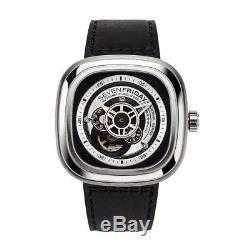 Seven Friday P-Series Homme 48mm Bracelet Cuir Noir Automatique Montre P1B-01