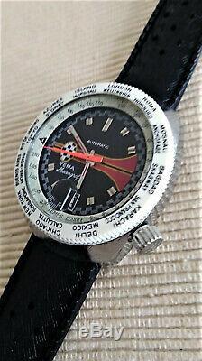 TRÈS RARE Montre de PLONGÉE Automatique YEMA MEANGRAF GMT. 60/70's. TBE