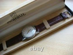 Très rare montre ancienne automatique CONSUL à réserve de marche (Felsa 690)