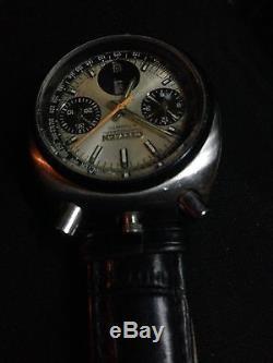 Vintage citizen 23 jewels chronographe bullhead/panda montre automatique 8110A