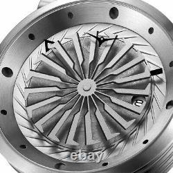 Zinvo Blade Astro Turbine Automatique Acier Gris Cuir Montre Homme