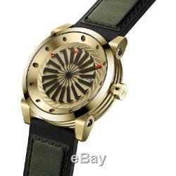 Zinvo Gold Turbine Automatique Acier Noir Or Vert Cuir Date Saphir Montre Homme