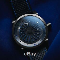 Zinvo Nitro Turbine Automatique Acier Noir Cuir Gris Bleu Saphir Montre Homme