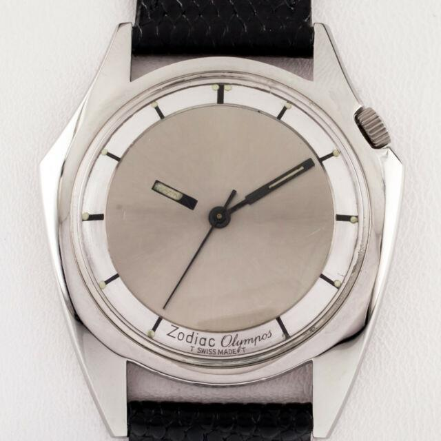Zodiac Acier Inoxydable Olympos Montre Automatique With Mystery Dial Et Cuir Bande